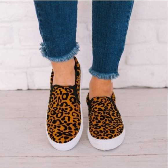 Shoes | Leopard Print Slip On Sneakers